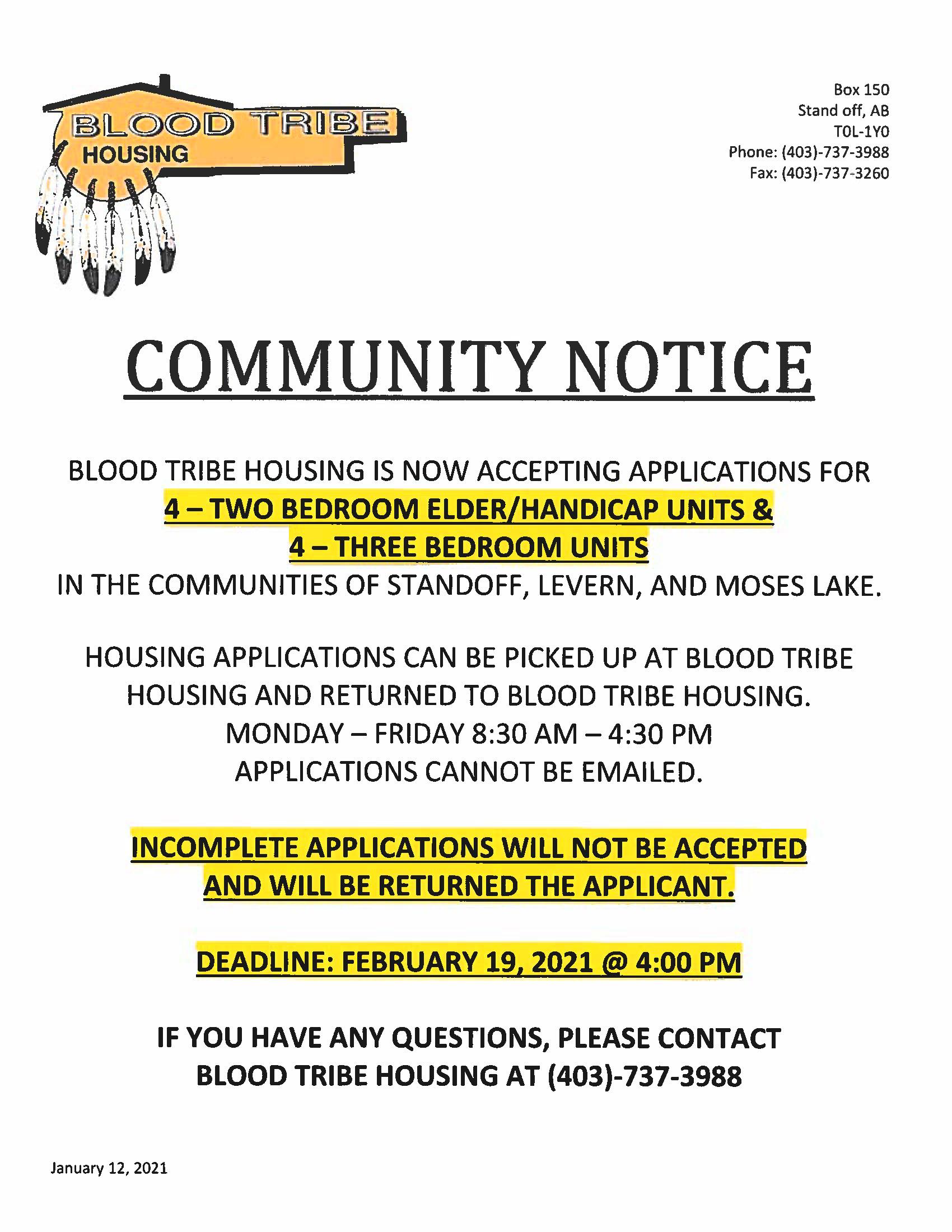 Notice - Housing Units