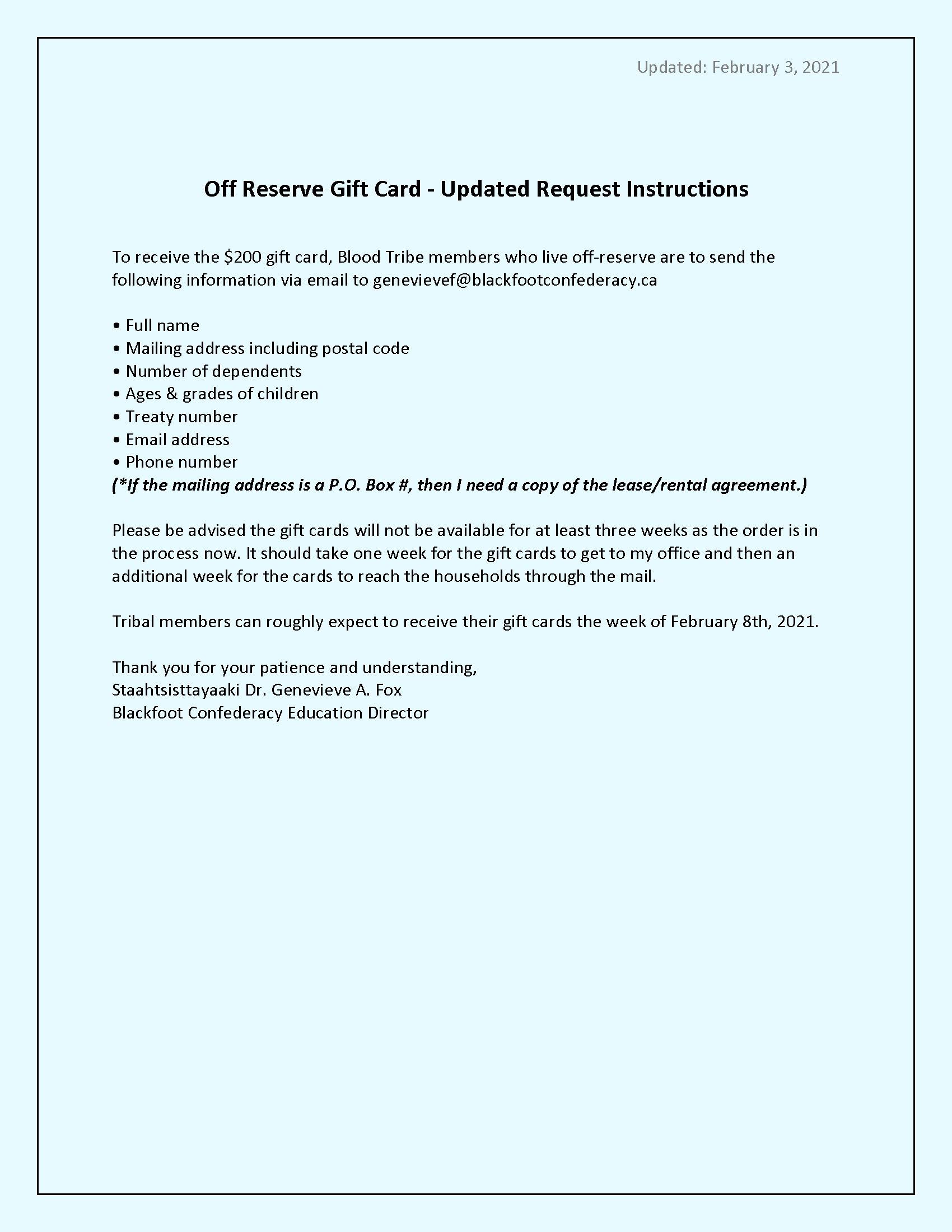 Off Reserve - Gift Card Requirements