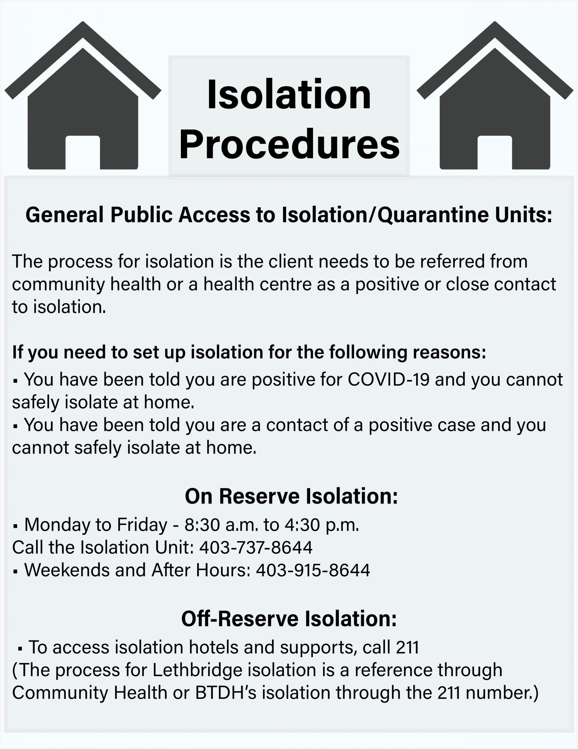 Isolation & Quarantine Procedures - On and Off Reserve