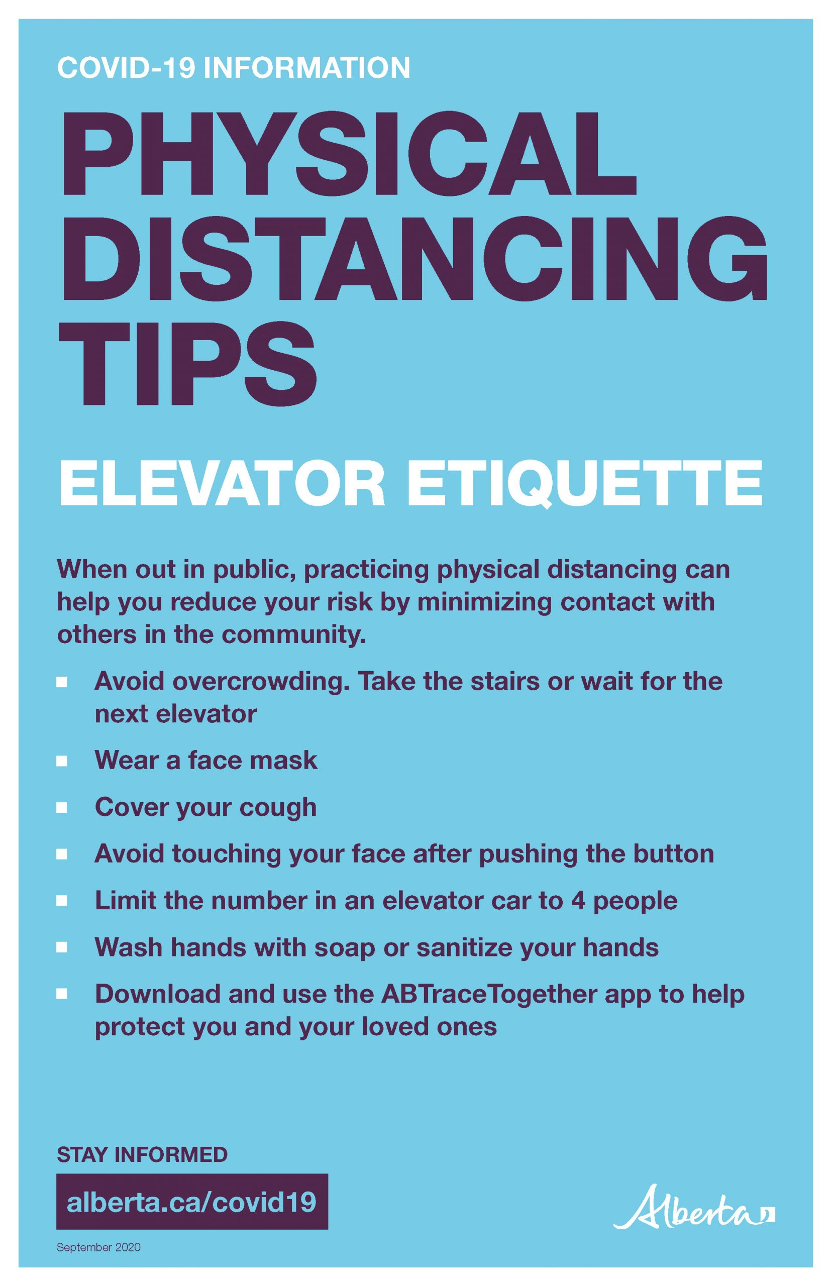 Physical Distancing Tips (Elevator Etiquette) - Poster
