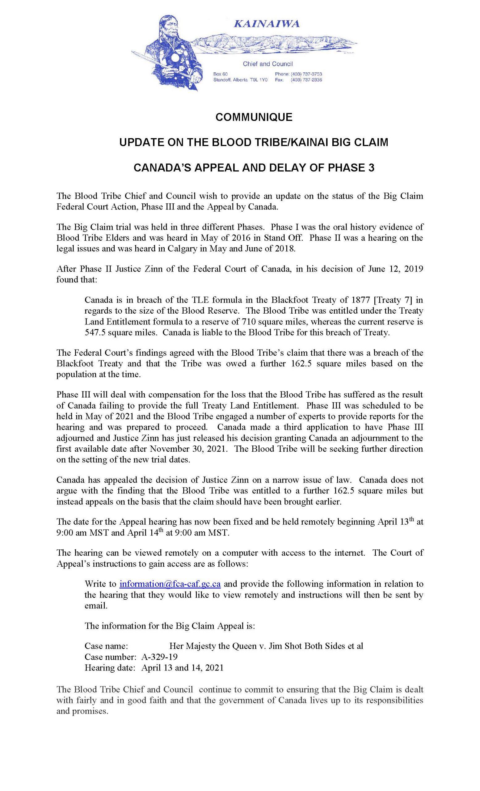 Update on the Blood Tribe/Kainai Big Claim