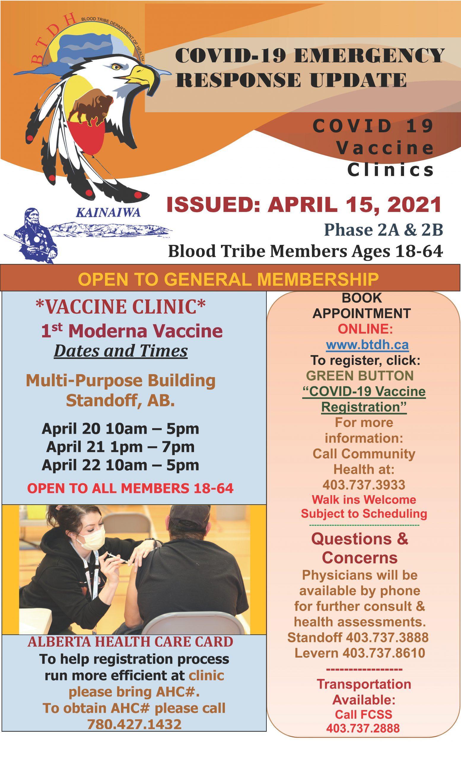 COVID-19 Vaccine Clinic Update - April 15, 2021