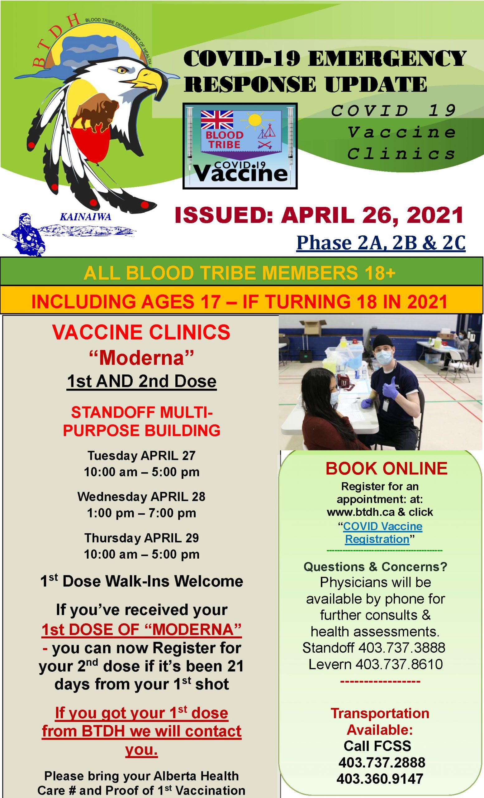 COVID-19 Vaccine Clinic Update - April 26, 2021
