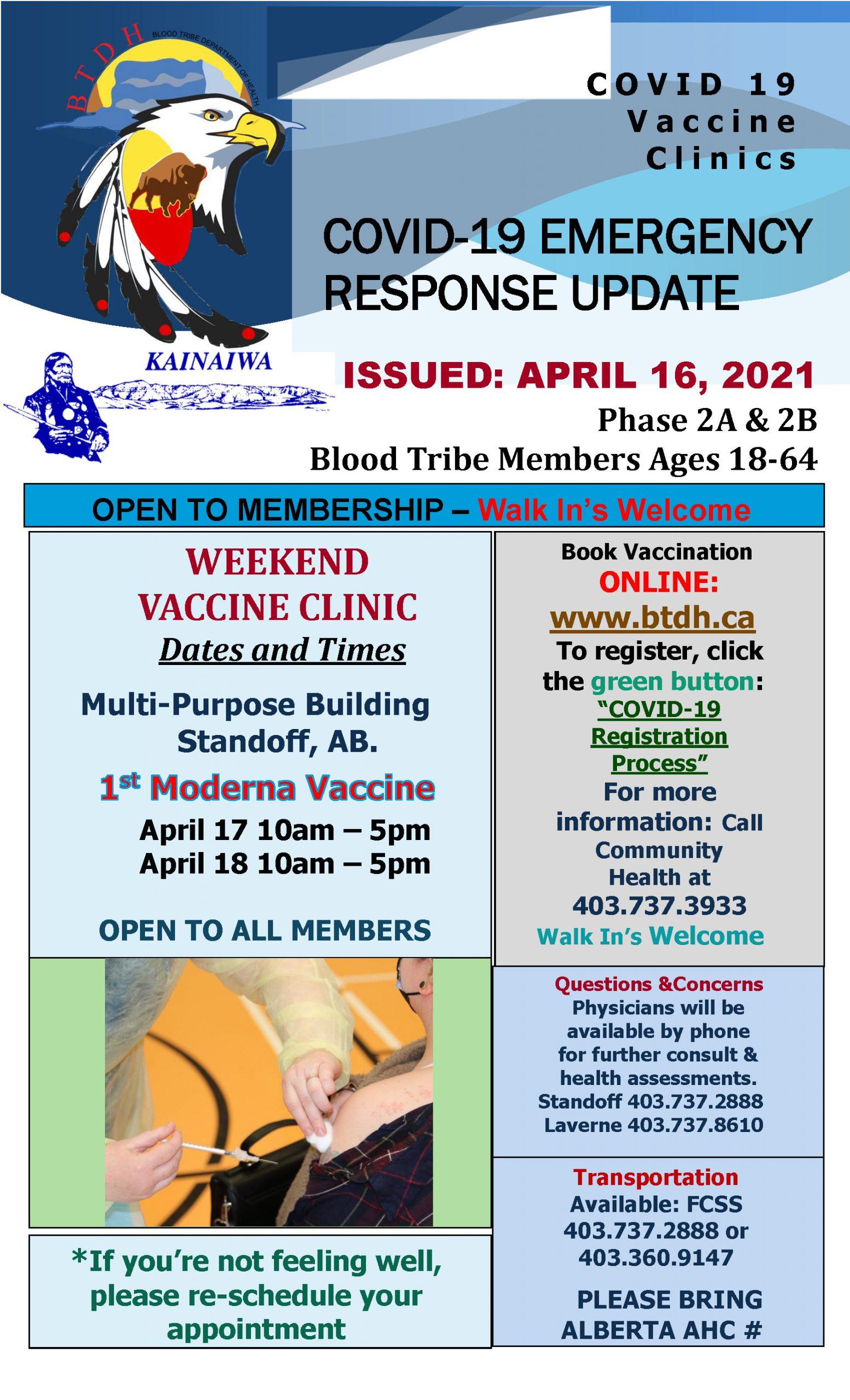 COVID-19 Vaccine Clinic Update - April 16, 2021