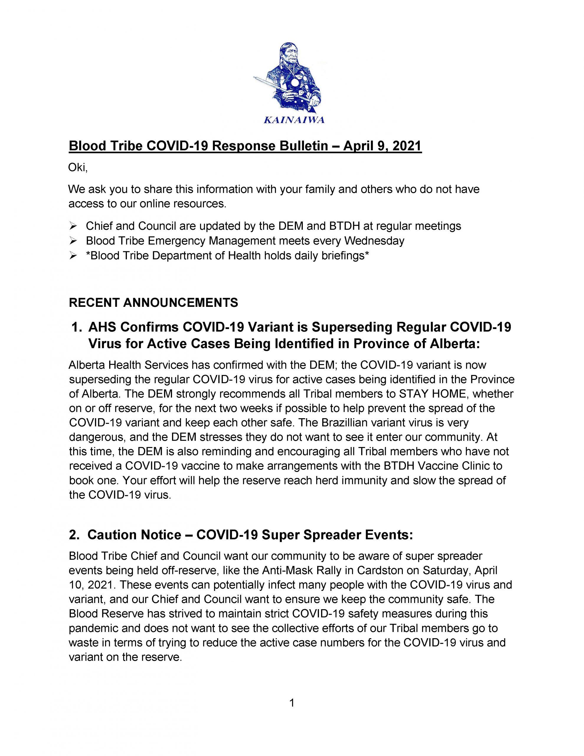 Blood Tribe COVID-19 Response Bulletin – (April 9, 2021) - Page 1