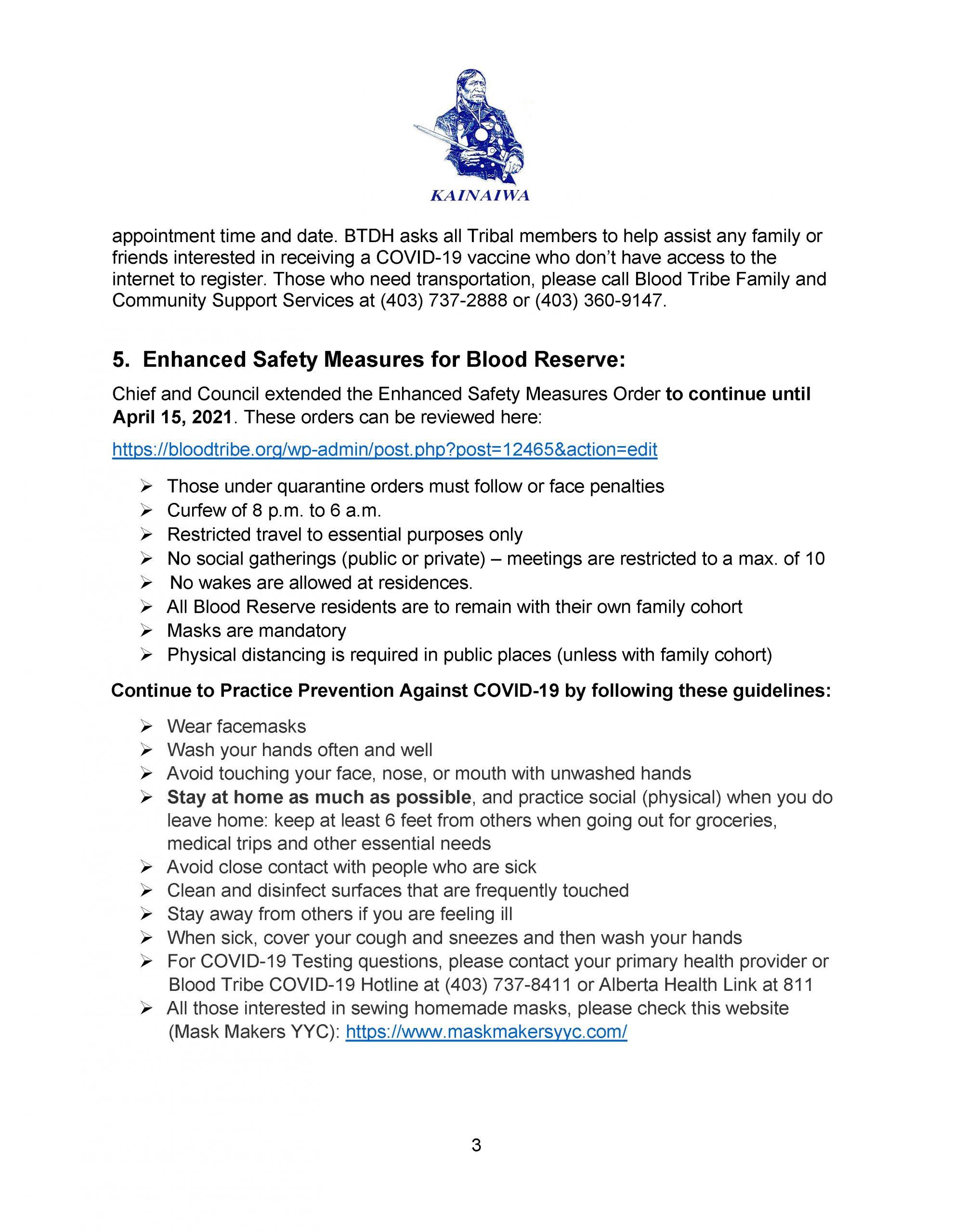Blood Tribe COVID-19 Response Bulletin – (April 9, 2021) - Page 3