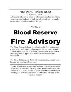 Blood Reserve Fire Advisory Notice