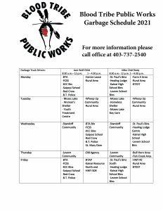 Blood Tribe Public Works - 2021 Garbage Schedule