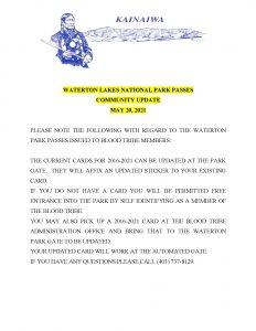 Waterton National Park Passes Update - (May 20, 2021)