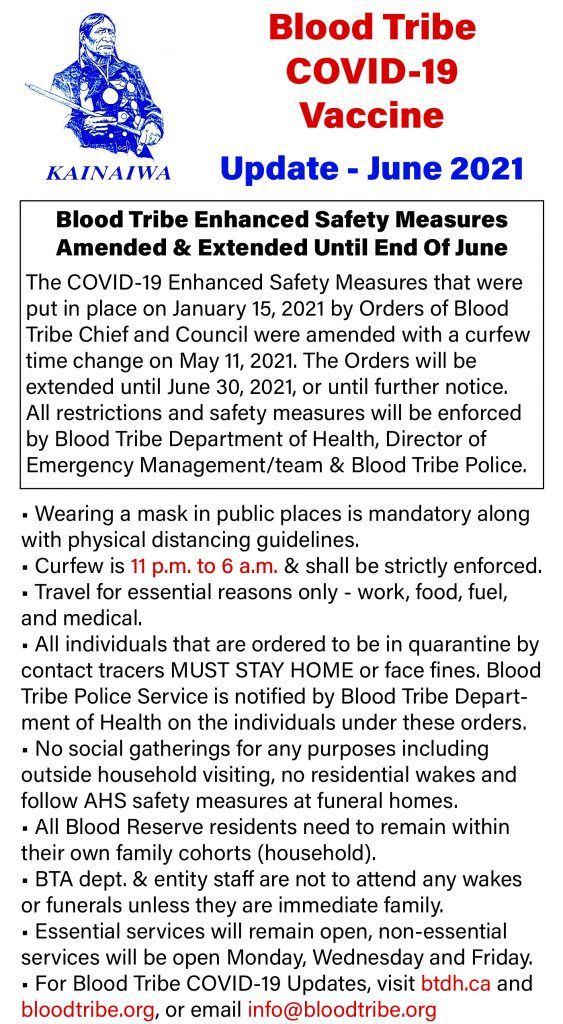 Blood Tribe COVID-19 Vaccine Update - Front Page