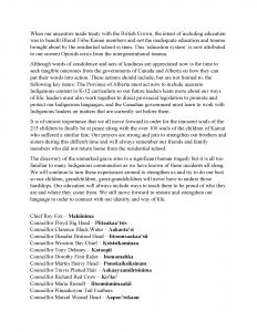 Blood Tribe Chief and Council Statement - Kamloops Indian Residential School - (June 3, 2021) - Page 2