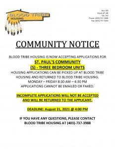 Community Notice - Blood Tribe Housing - (July 26, 2021)