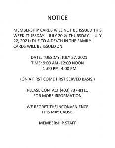 Blood Tribe Membership Update Notice - July 20, 2021