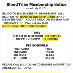 Blood Tribe Membership Update Notice – Service Delivery & Band Membership Cards – (July 19, 2021)