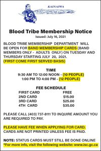 Blood Tribe Membership Update Notice - July 16, 2021