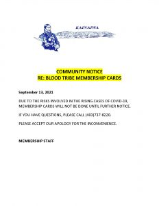 Membership Notice - (September 13, 2021)