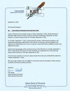 KBE Update Notice - (Sept. 7, 2021)