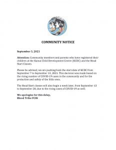 KCDC & Head Start Notice - (September 3, 2021)
