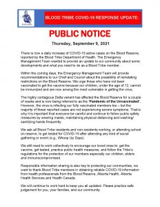 COVID-19 Public Notice - (September 9, 2021)