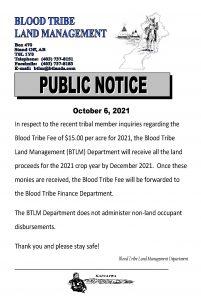 BTLM Public Notice - (October 6, 2021)