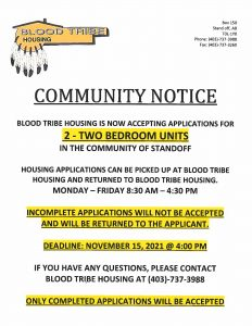 COMMUNITY NOTICE - Blood Tribe Housing - (October 12, 2021)