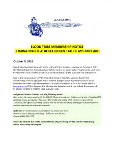 Blood Tribe Membership Notice - Elimination of Alberta Indian Tax Exemption Card - (Page 1)
