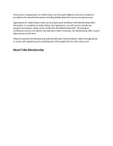 Blood Tribe Membership Notice - Elimination of Alberta Indian Tax Exemption Card - (Page 2)