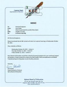 KBE Notice - (October 19, 2021)