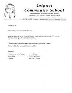 Saipoyi Community School Notice - (October 6, 2021)
